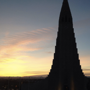 view bedroom sunrise reykjavik cathedral
