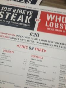 steak and lobster menu